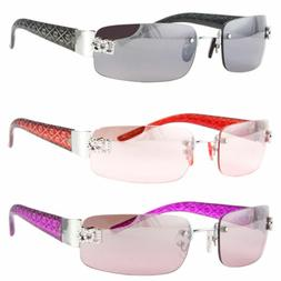 New Womens Small Rimless Rectangular Frame Sunglasses Classi
