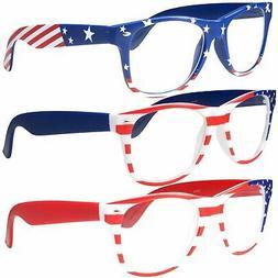 NON-Prescription USA American Patriot Flag Glasses, 3 Pack