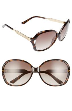 Women's Gucci 60Mm Oval Sunglasses - Havana/ Brown