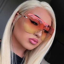 Oversize Shield Sunglasses Large Retro Frame Color Lens Wome