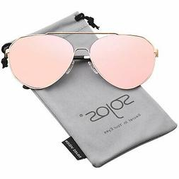 SOJOS Oversized Aviator Sunglasses Mirrored Flat Lens for Me