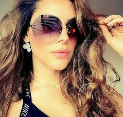 "OVERSIZED Big "" RIMLESS""  Gradient Lens Women Sunglasses  SH"