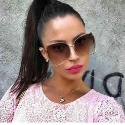 Oversized Designer Sunglasses Fashion Women Pearl Retro Clea