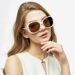 Oversized Metal Polarized Women Sunglasses Shades SHADZ Whit