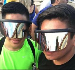 Oversized WRAP SHIELD Visor DAISUKE Sunglasses Flat Top Silv