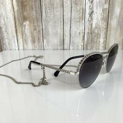 CHANEL Pantos Sunglasses CH 4242 Charming Hanging Chain Silv