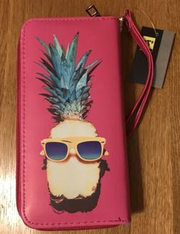 Pink Wallet with Pineapple Wearing Sunglasses New With Tags