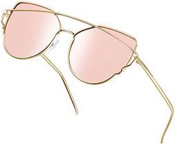 Joopin Polarized Cat Eye Sunglasses for Women Metal Frame Su