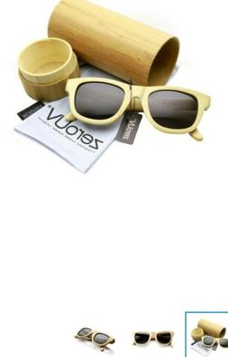 zeroUV - Polarized Genuine Bamboo Wood Rimmed Sunglasses and