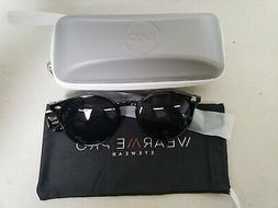 WearMe Pro - Polarized Lens Black Horned Rimmed Sunglasses