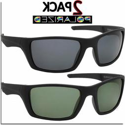 Polarized Mens Sunglasses Sport Wrap 2 Pack All Black Biker