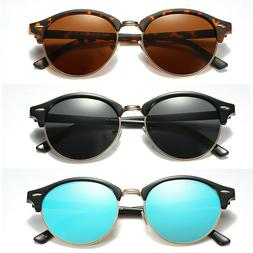 Polarized Retro Classic Clubround Sunglasses Men Women Flash