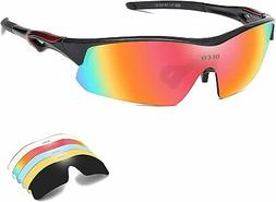 DUCO Polarized Sports Cycling Sunglasses for Men with 5 Inte