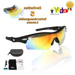 POLARIZED Sports Sunglasses, UV400 Cycling with 5 Interchang