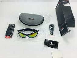 RIVBOS Polarized Sports Sunglasses w/Case Black/Red RB831 Mi