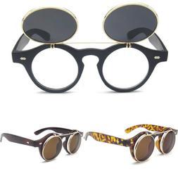 Polarized Steampunk Goth Goggles Glasses Retro Flip Up Round
