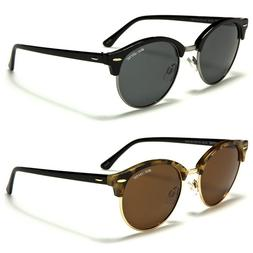 Polarized Vintage Round Metal Half Frame Men Women Fashion S