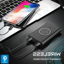 Qi WIRELESS Charger Dual Port USB PORTABLE Power Bank Batter