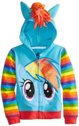 FREEZE Little Girls' My Little Pony Rainbow Dash Hoodie, Blu