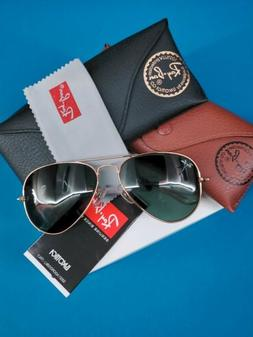 Ray Ban Aviator Gold RB 3025 W3234 Small Size 55mm G15 Lense