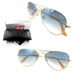 RAY-BAN Aviator SUNGLASSES Gold Frame with Light Blue Gradie