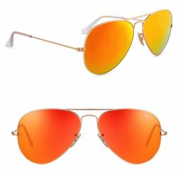 Ray-ban aviator new orange mirrored sunglasses lens for wome