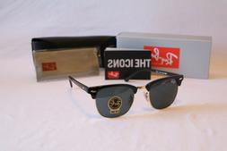 Ray-Ban Clubmaster Sunglasses RB3016 901/58 51mm Black/Green