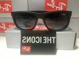 RAY-BAN JUSTIN RB 4165 622/T3 54MM RUBBER BLACK / GREY GRADI