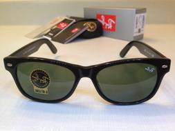 Ray Ban New Wayfarer Sunglasses Green Lenses Black Frame Siz