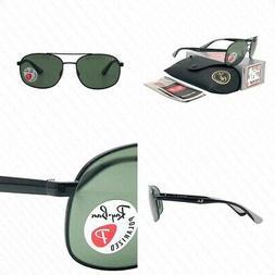 Ray Ban Polarized Sunglasses RB3593 002/9A 58MM Black Green