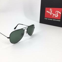 Ray-Ban RB 3025 Aviator Sunglasses 58 mm Black Frame Green L