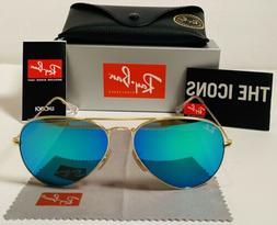 Ray-Ban RB3025 Aviator Blue Green Lens And Gold Frame 58mm S