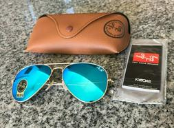 Ray Ban RB3025 Blue Flash Aviator Sunglasses - Authentic & N
