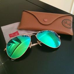 Ray Ban RB3025 Green Flash Aviator Sunglasses 58mm - New & A