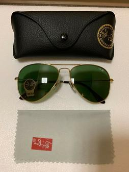 Ray-Ban RB3026 Unisex Aviator Sunglasses with Gold Frame and