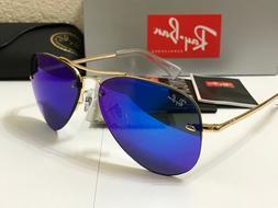 RAY BAN RB3449 001/55 Highstreet Sunglasses Gold Frame Blue