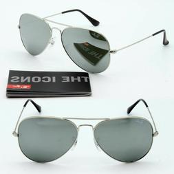 RAY-BAN Sunglasses Aviator Mirror Silver Glass Lenses RB3025