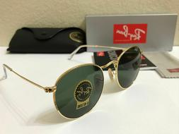RAY-BAN Sunglasses ROUND METAL Gold Frame With Green Lens 50
