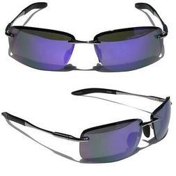 Rectangle Rimless Black Metal Frame Aviator Sunglasses Purpl