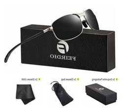 Rectangular Sport Polarized Sunglasses for Men Metal Frame 1