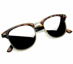 Retro Fashion Half Frame Flash Mirror Lens Sunglasses Mirror