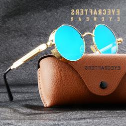 Retro Gothic Steampunk Polarized Sunglasses Vintage Round Mi
