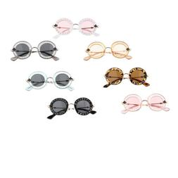 Retro Round Shape Letter Sunglasses for Kids Girls Boys UV 4