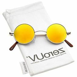 ZeroUV-Retro Round Sunglasses for Men Women with Color Mirro