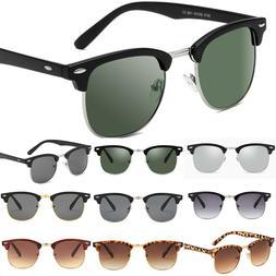 Retro Semi-Rimless Half Frame Sunglasses For Men Women Horne
