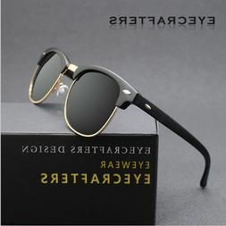 Retro Vintage Polarized Sunglasses Mens UV400 Half Metal Fra