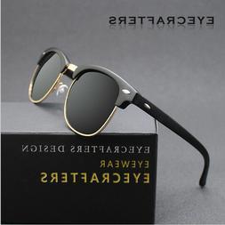 Retro Semi-Rimless Polarized Sunglasses Mens Vintage Metal H