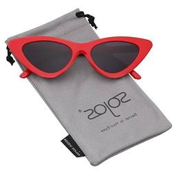 SOJOS Retro Vintage Narrow Cat Eye Sunglasses Women Clout Go