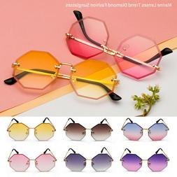 Rimless Sunglasses Vintage Women Men Octagon Small Frame Gra