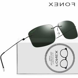 Rimless Sunglasses Polarized Titanium Men Brand Design Frame